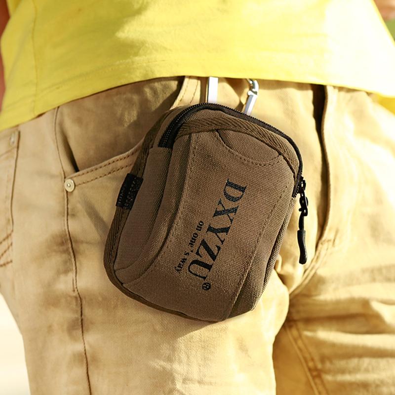 新款帆布腰包多功能男士手机钥匙小挂包韩版 迷你穿皮带运动休闲