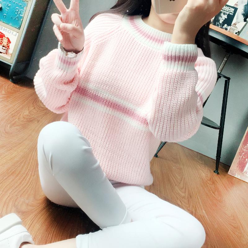 2015韩版学院风套头条纹毛衣女秋冬加厚短款宽松针织衫学生打底衫