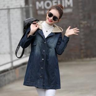 风衣中长款牛仔外套女装宽松秋冬款加绒加厚棉衣