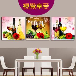 新款5D钻石画满钻餐厅花卉酒杯三联画点贴钻十字绣客厅卧室砖石秀