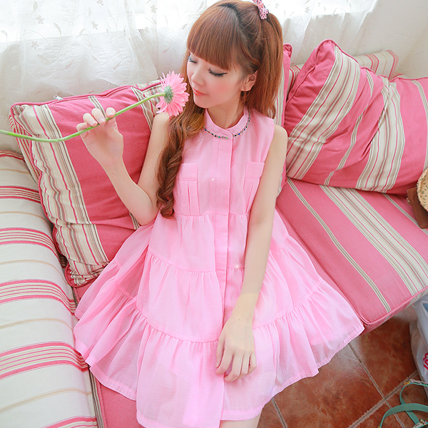 2014 Summer new Korean sweet lady princess diamond drill collar color oversized doll dress skirt