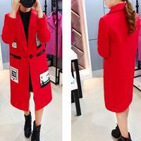 2015新款韩版羊毛呢外套中长款贴布修身字母呢子大衣女装秋冬季