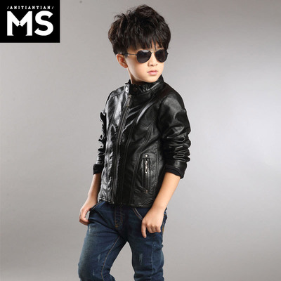 Kids 2014 new spring and autumn men in child fashion coat Korean tide on pu children's leather pupils clothes