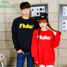 South Korea bought men's clothing qiu dong outfit FLUKE authentic letters printing and flocking warm fleece male men and women with the model