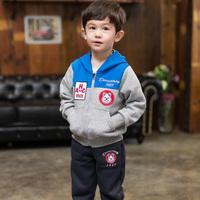 男童装秋装儿童休闲运动套装2015新款宝宝长袖拉链拼接卫衣两件套