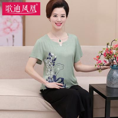 中老年女装棉麻短袖T恤+裤子两件套