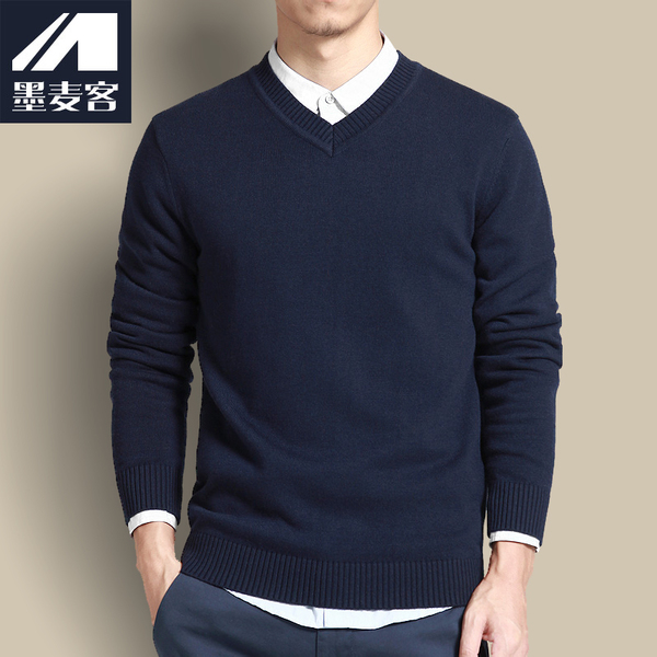SF Mexican wheat off Men's sweaters winter thick hedging sweater Korean Slim v-neck sweater Men tide