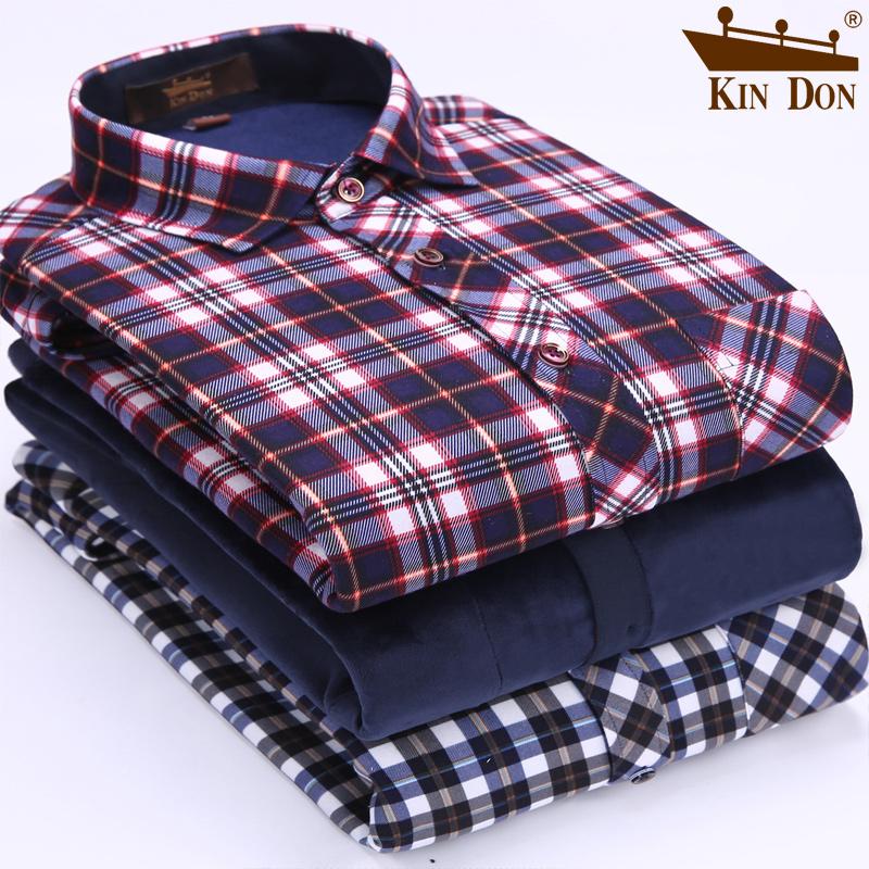 金盾男装冬季新款加厚加绒保暖衬衫格子青年保暖衬衫男士长袖寸衫