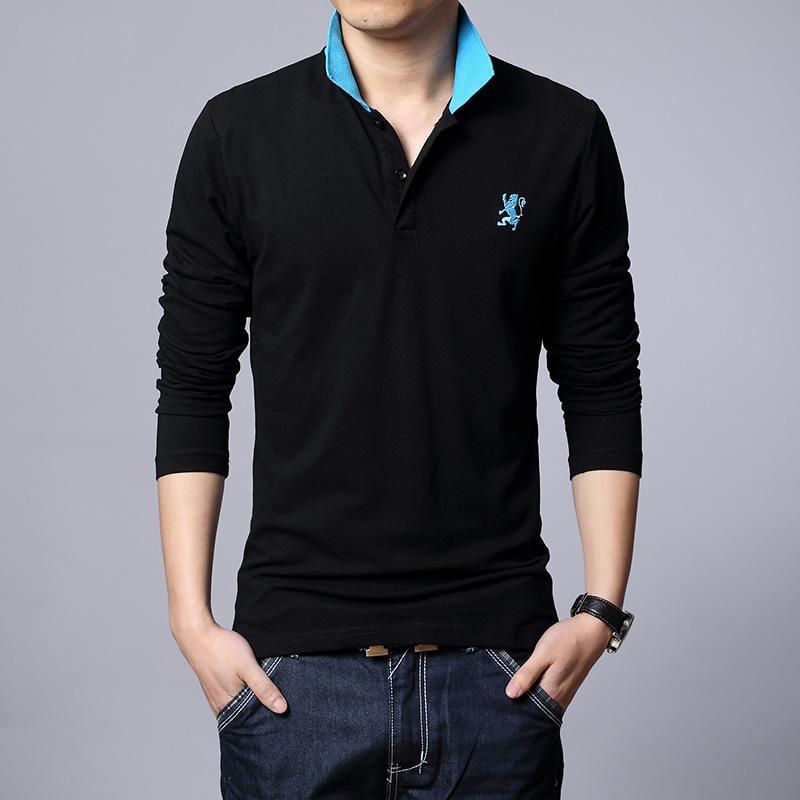 森马夏新款男士休闲t恤韩版修身长袖体恤 圆领翻领男装 长袖t恤男图片