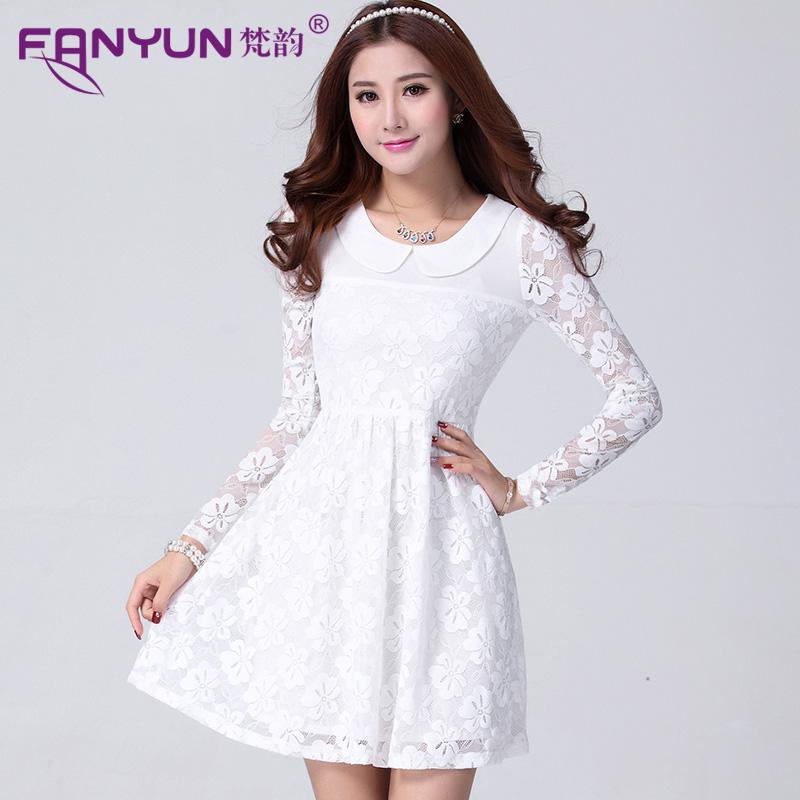 2015秋裝新款韓版甜美鏤空袖修身顯瘦中長款娃娃領蕾絲連衣裙女潮圖片