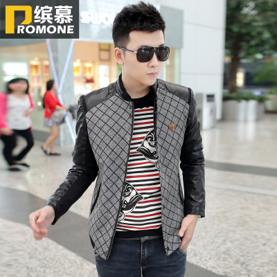 Bin Mu Men's 2014 Hitz stitching warm men's jackets thin section Korean Slim shirt tide