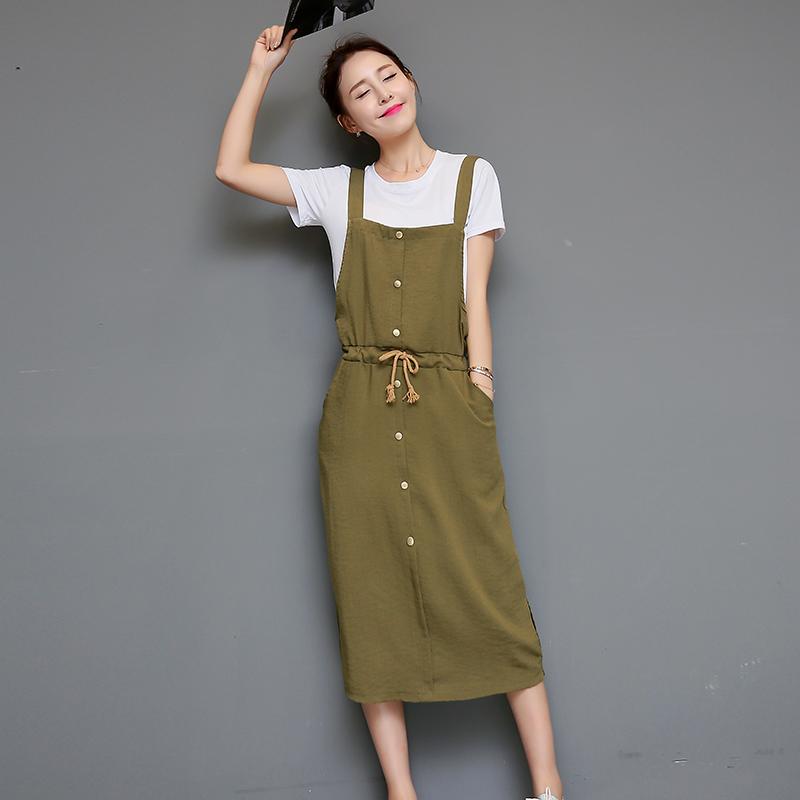 2016夏装韩版新款女装修身显瘦套装两件套中长款棉麻背带连衣裙