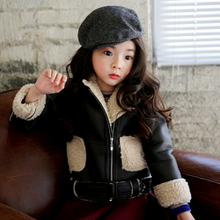 Children put more girls with velvet jacket, winter 2014 female baby lambs wool garment tide ZhongTong brief paragraph