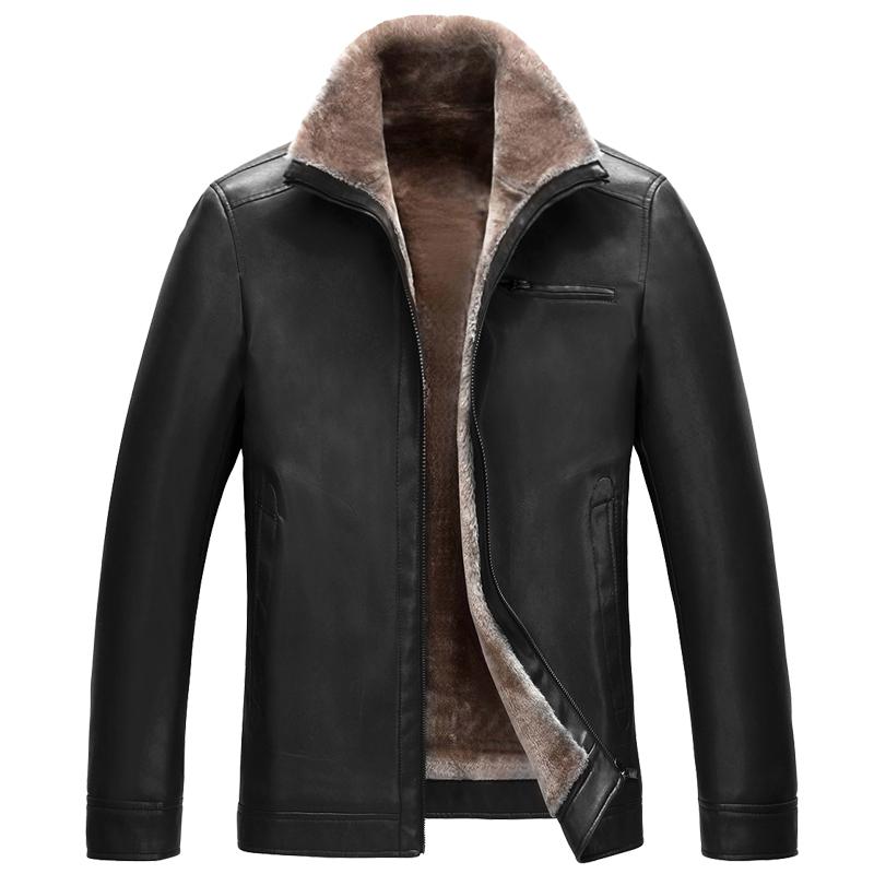 冬季休闲男士皮毛一体加厚羊羔毛内胆皮夹克保暖加大男短款外套