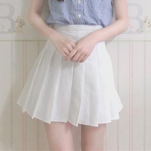 夏装女装学院风百搭高腰A字百褶裙宽松显瘦小半身裙短裙裤夏