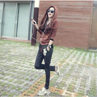 韩国春秋显瘦时尚卫衣长裤运动套装女时髦两件套冬潮