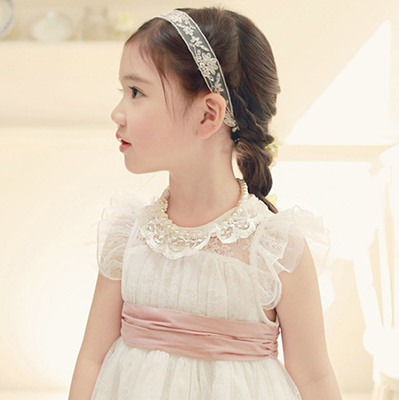14 Korean children accessories girls lace pearl necklace ring hollow removable fungus flounced lace collar fake