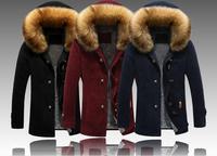包邮younger男装绒里加厚大衣高品质男冬御寒外套大毛领帽中长3XL