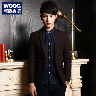 WOOG2005 Korean men's 2014 winter new thick woolen British men Slim small suit suit tide