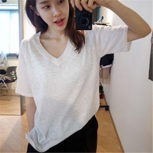 2件49元竹节棉短袖女T恤V领简约宽松纯棉白色体恤韩国打底衫