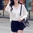 热嘉 时尚九分袖白色衬衫2016春季新款 韩版范学院风百搭上衣衬衣