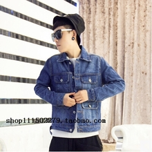 Original tide brand CHINISM European and American street pure color heavy water pocket tooling denim jacket coat more male