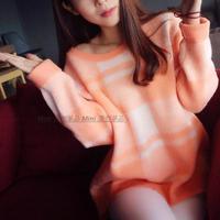 实拍秋冬韩版毛衫 显白白西柚橙格子毛衣 oversize超宽松套头针织