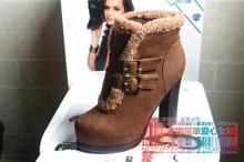 The original single tail single woman shoes The new winter euramerican style short tube of female students and thicken with wool female boots