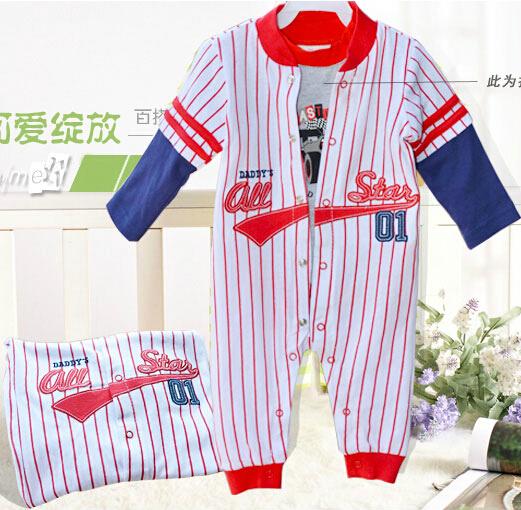 婴儿童装夏春秋运动款超萌棒球款新生婴儿纯棉连身衣爬服哈衣打底