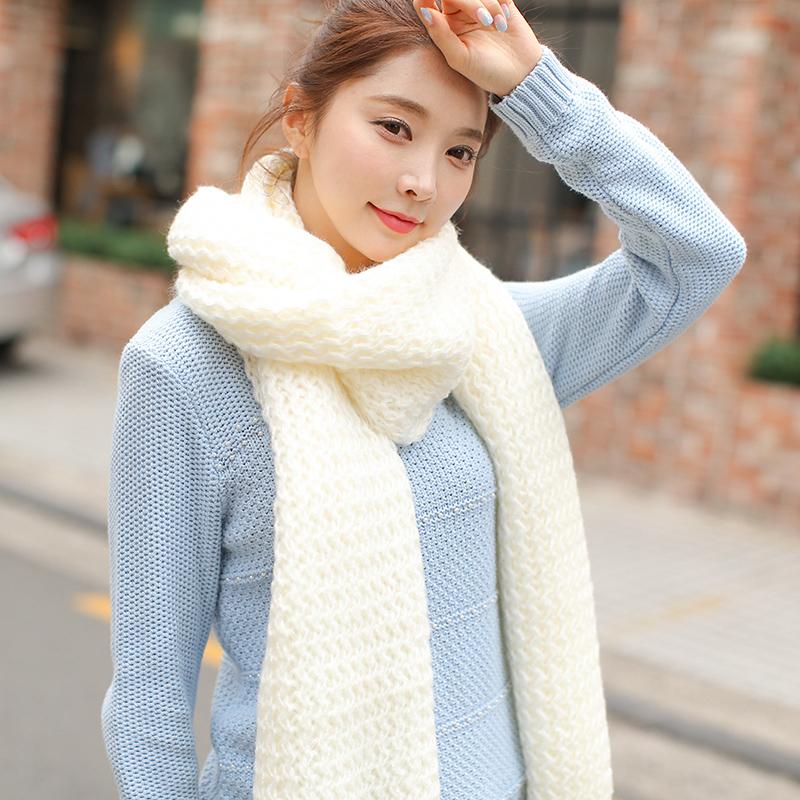 新款韩版毛线围巾女冬季情侣学生秋天加厚男士围脖纯色针织韩国潮
