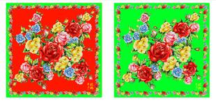 情儿——[红配绿]系列之二手玫瑰单元 数码印花 丝巾