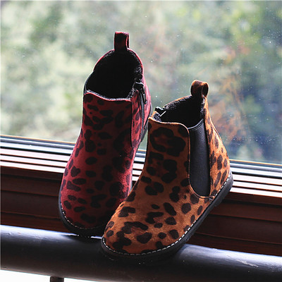 2014 Cotton Flax female children's shoes leopard horsehair Martin boots low tube boots personalized fashion foot tidal shoes