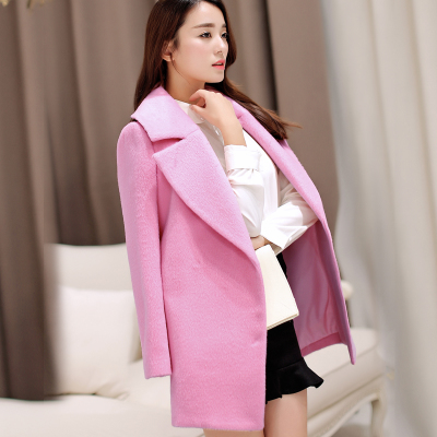 2014 Korean version of the new big cocoon coat woolen coat and long sections female sweet pink wool coat winter
