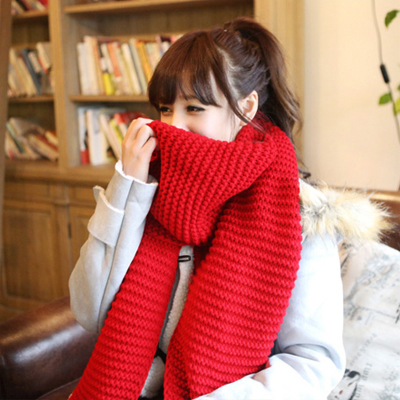 The new Korean version of thick wool scarf men couple in autumn and winter wave pattern knit scarf warm white women