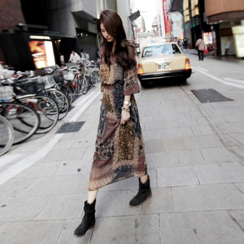 2016新款春装女装雪纺连衣裙长裙波西米亚长款复古印花碎花沙滩裙