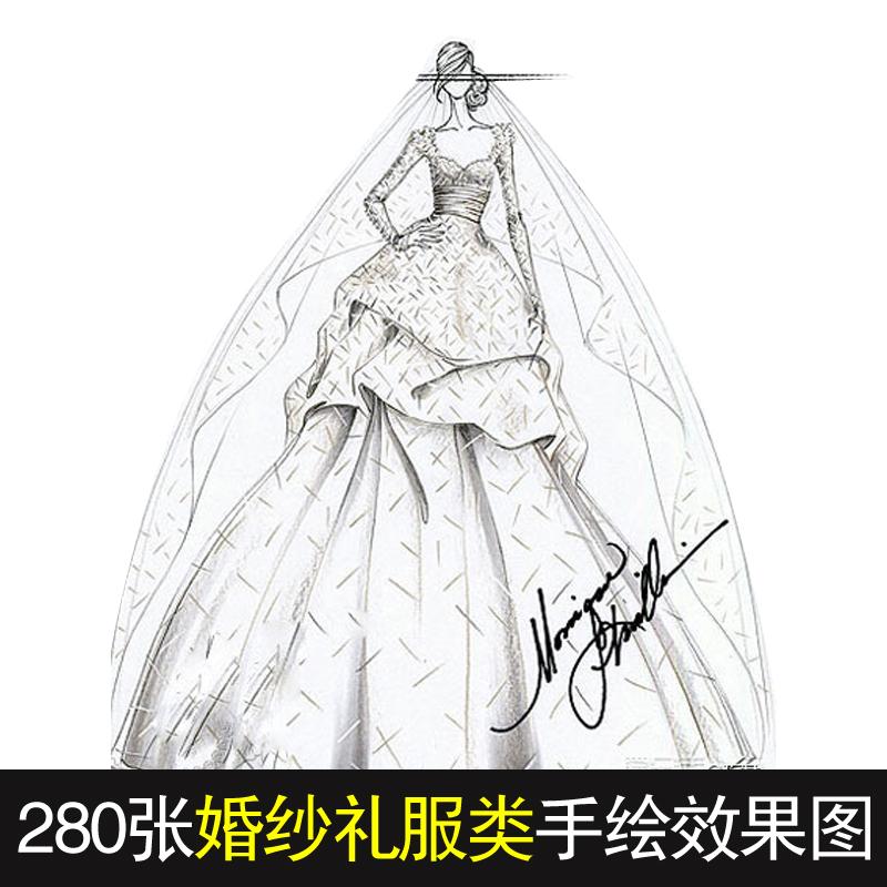 婚纱礼服设计手稿 黑白线稿 服装手绘效果图 绘画素材