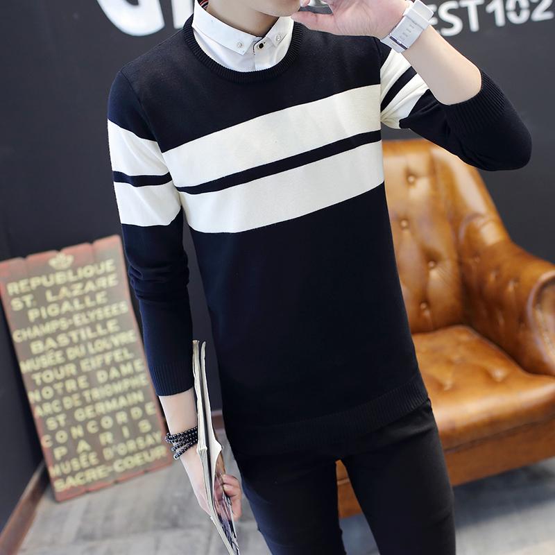 秋冬季男士假两件毛衣 韩版加绒加厚针织衫修身衬衫领打底衫男装