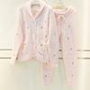 日韩系时尚睡衣秋冬女士毛绒绒素色甜美菠萝潮果子领保暖套装