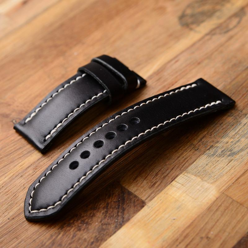 罐手制 手工沛纳海表带定制 日本黑色枥木多脂鞍革