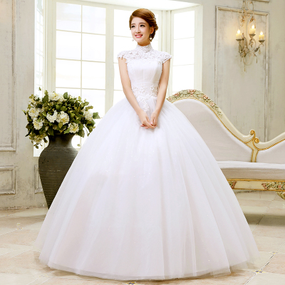 The new autumn and winter 2014 wedding dress Princess Bride word shoulder lace halter Qi female stand-up collar short-sleeved dress