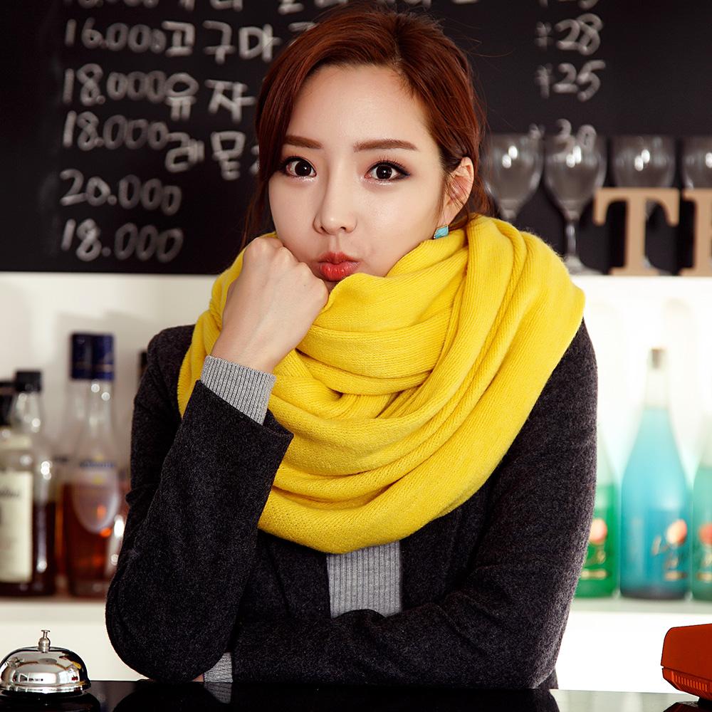 惟嫒纯色毛线围巾女冬季 韩国女 围巾披肩两用秋冬天加厚韩版围脖
