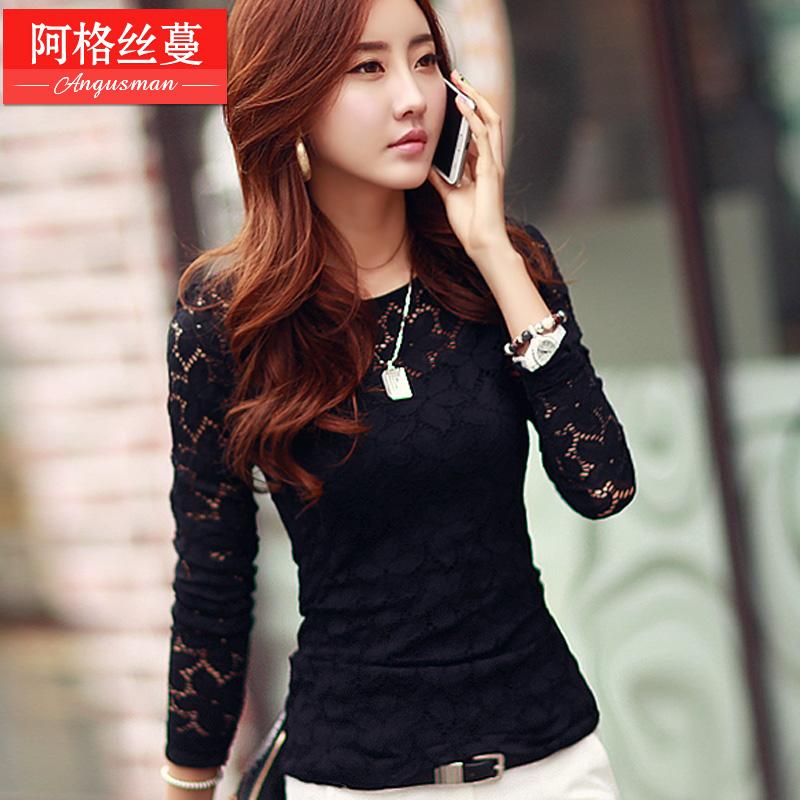 秋冬新款长袖体恤黑色蕾丝打底衫女装韩版修身加绒加厚T恤上衣潮