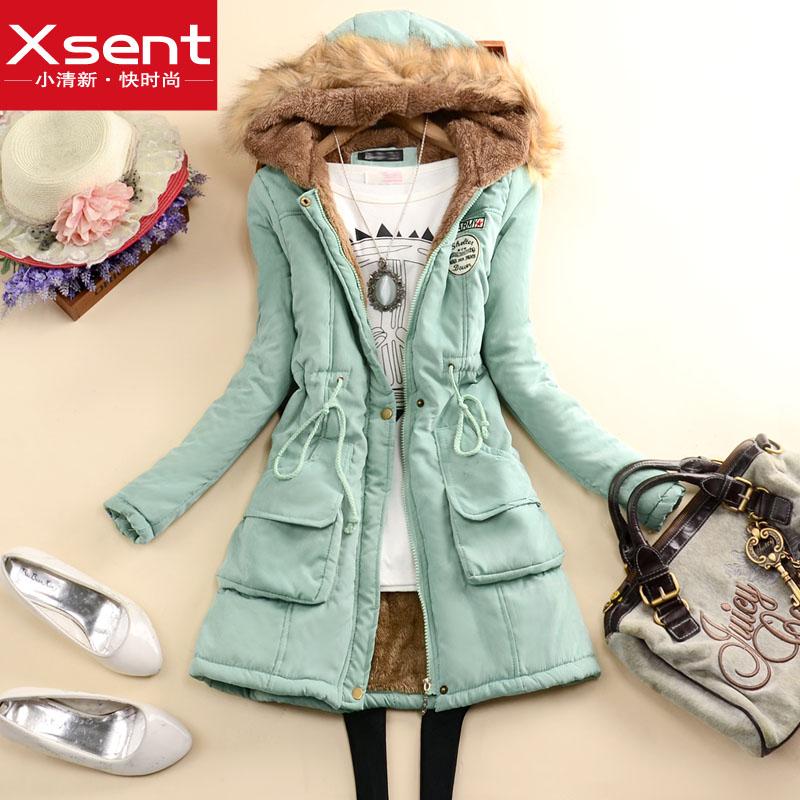 包邮 2014冬季新款韩版女装连帽长袖贴布中长款保暖棉衣棉服外套