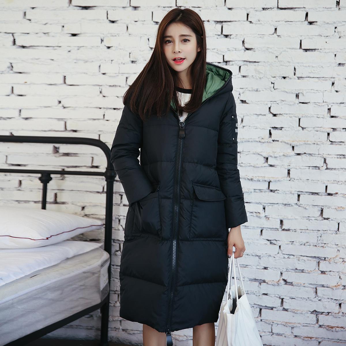 凡兔2016秋冬新款韩版女装中长款连帽羽绒服女修身显瘦学生外套