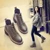 2017秋冬系带马丁靴女复古棉鞋女靴粗跟短筒靴高跟短靴女