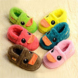 A family of three parent-child shoes shoes for men and women ★ little yellow duck baby shoes children package with cotton slippers warm home