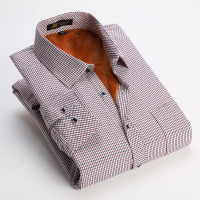 2015冬新款中青老年男士长袖衬衫加绒加厚保暖衬衣 商务休闲格纹