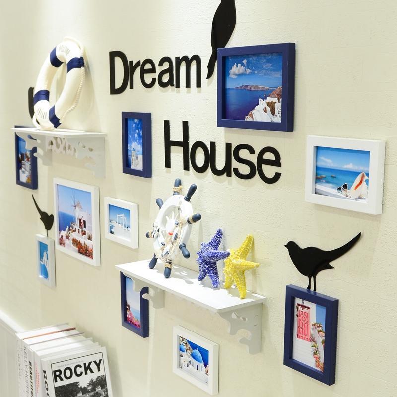 欧式置物架客厅照片墙创意墙贴卧室相框组合挂墙相框