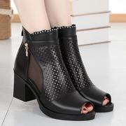雪地意尔康网靴真皮镂空女短靴鱼嘴粗跟单靴中跟女鞋网纱凉靴