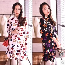 1519 (spot) of the new Europe and the United States to restore ancient ways color flower favors falbala long sleeve shirt style dress